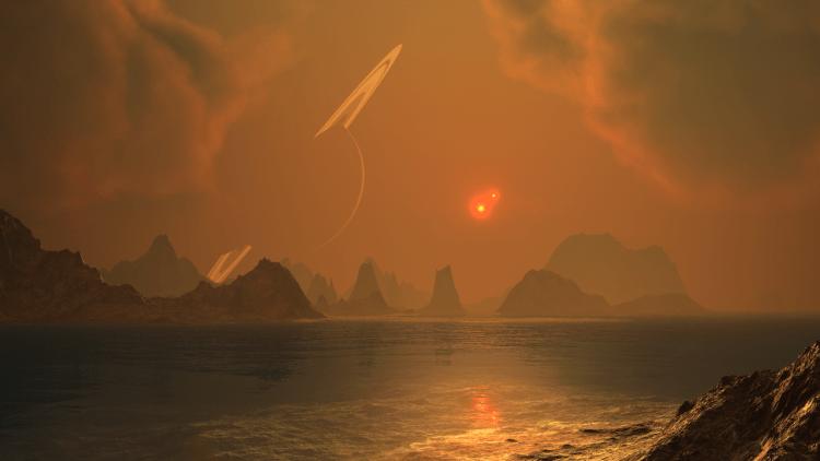 Artist's Impression of Lakes on Titan