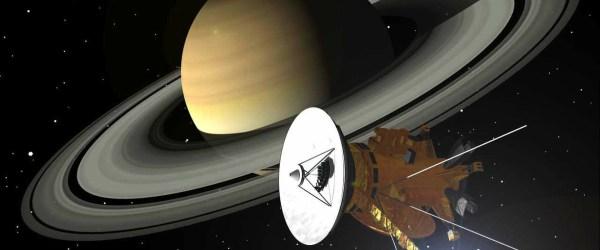 Artist's impression of Cassini and Saturn