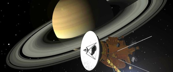 Artist's impression of Cassini and Saturn