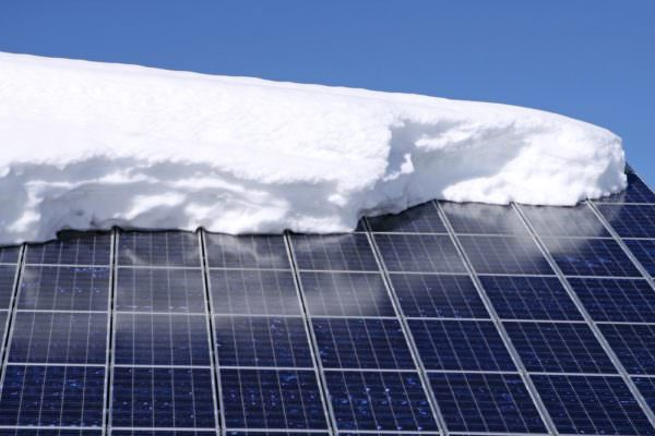 Solar renewable energy panels covered in snow