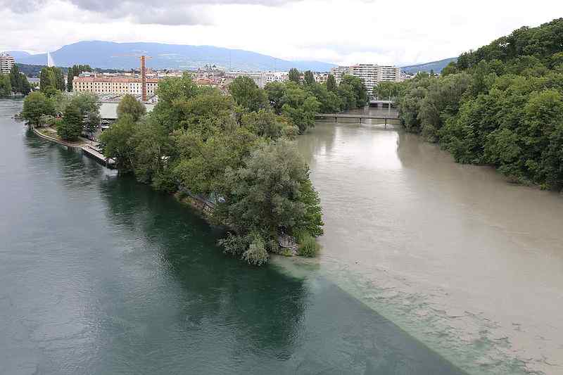 Confluence of Rhone and Arve Rivers