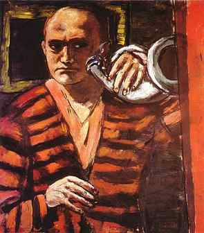 "Max Beckmann – ""Self-portrait with horn"", 1938-1940"