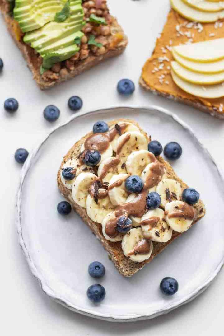 Three vegan toast recipes with avocado, banana and pumpkin