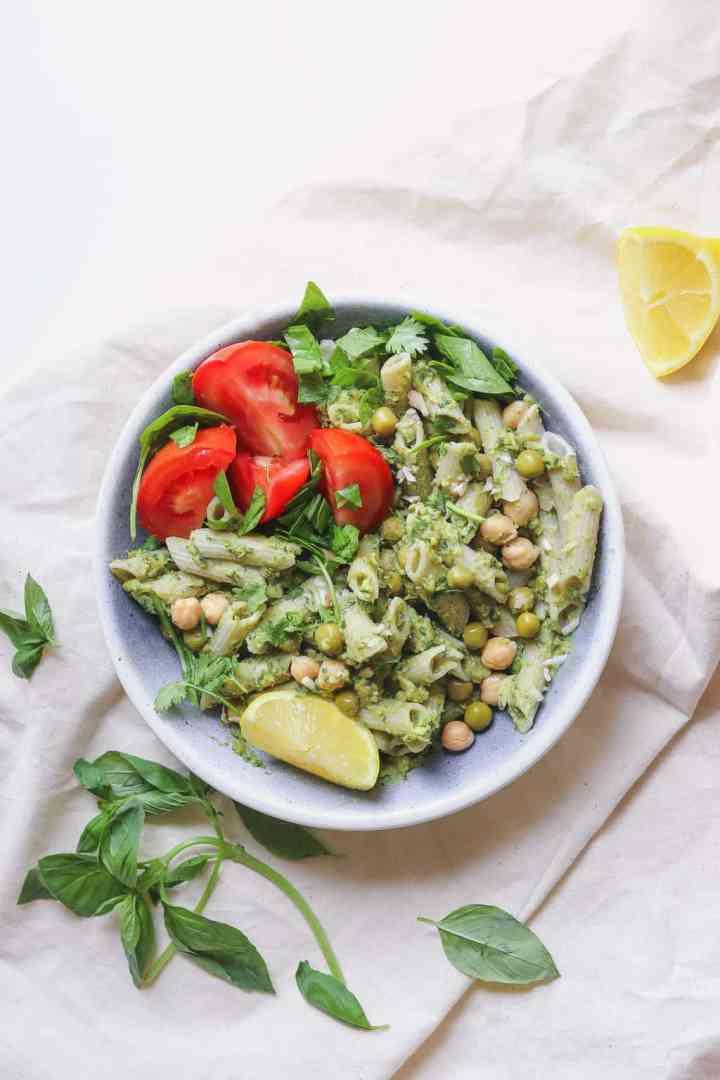 Green pea and avocado pesto pasta recipe with chickpeas and fresh basil