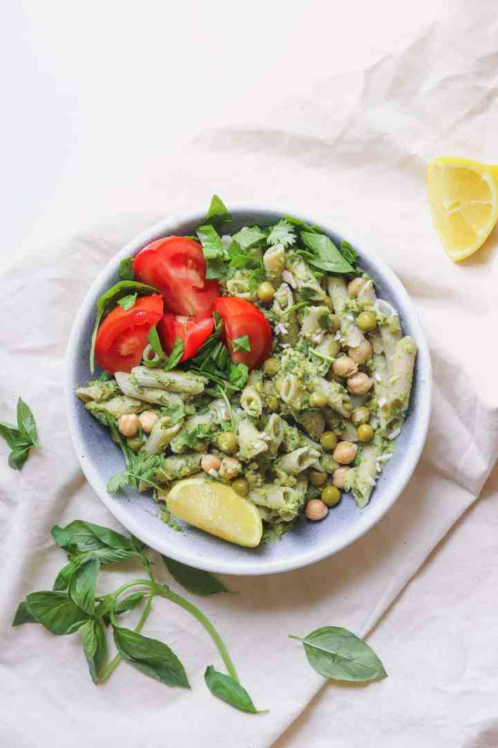 Green pea and avocado pesto pasta recipe with chickpeas and fresh basil