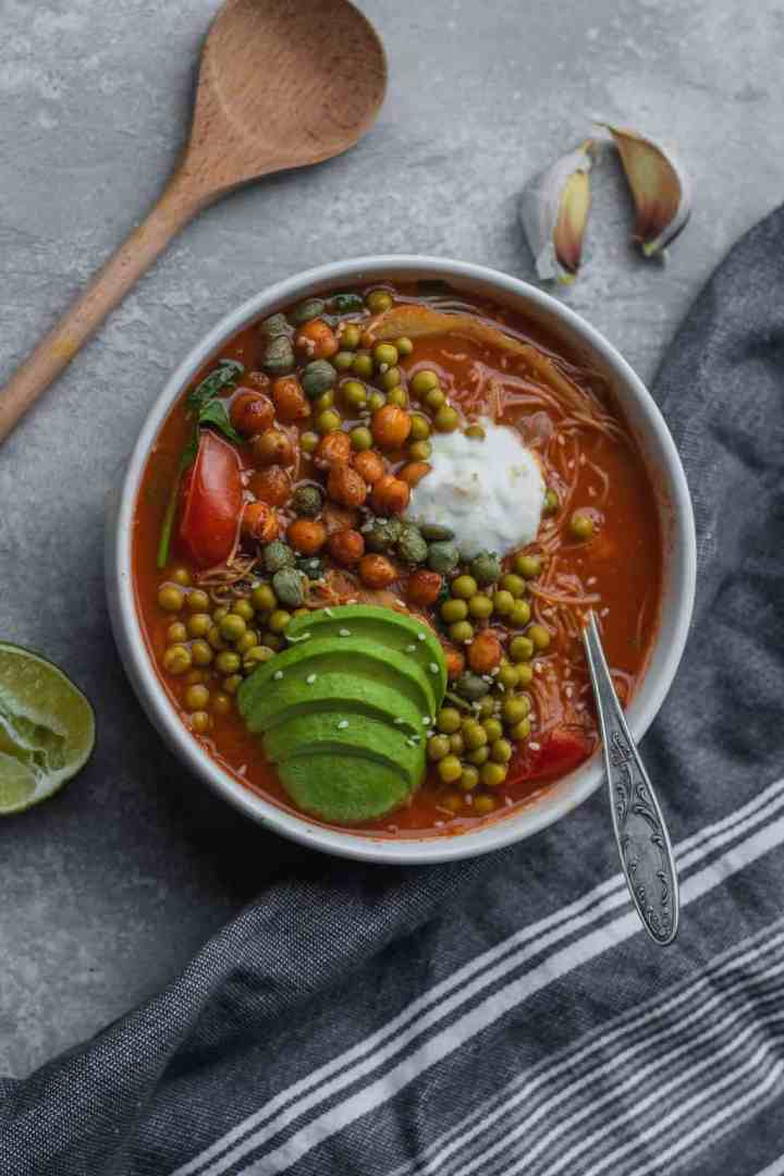 Vegan rice noodle soup with chickpeas