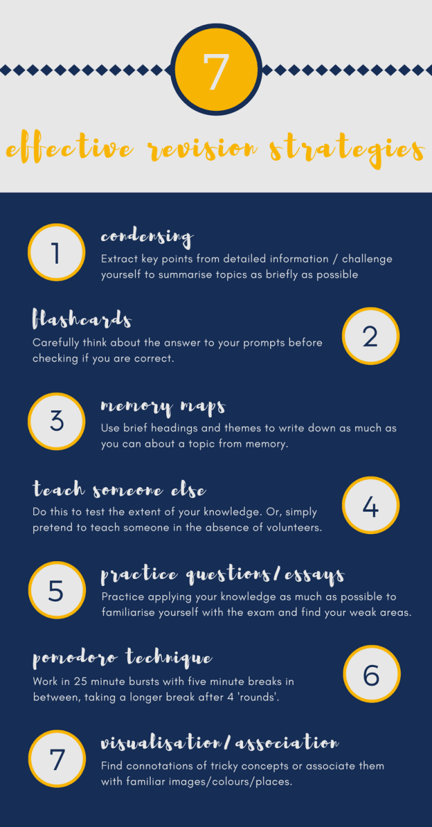 7 effective revision strategies infographic