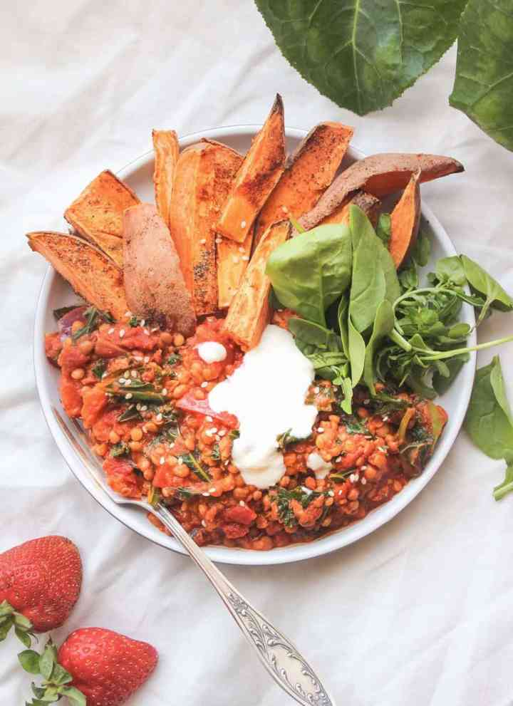 Lentil Dahl With Oil-Free Sweet Potato Fries