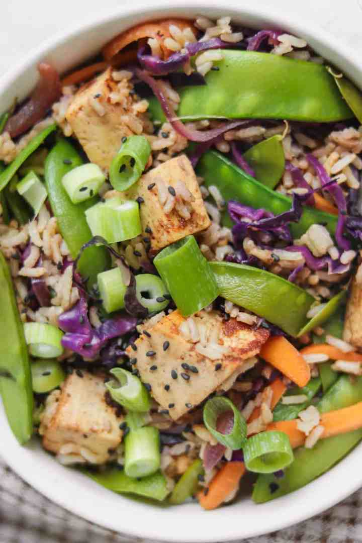 Almond tofu and vegetable rice stir-fry with green peas