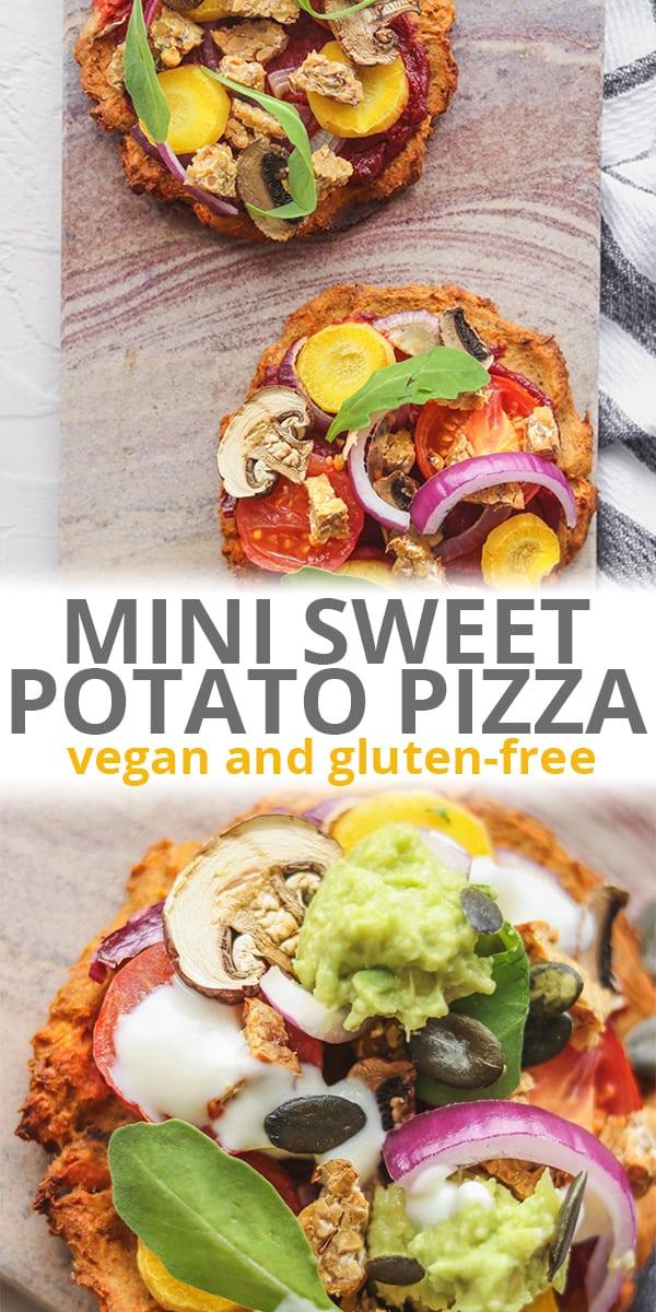 Vegan mini sweet potato pizza with tempeh Pinterest