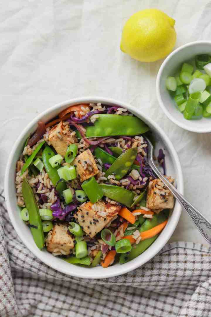Easy weeknight dinner tofu stir-fry with rice and vegetables