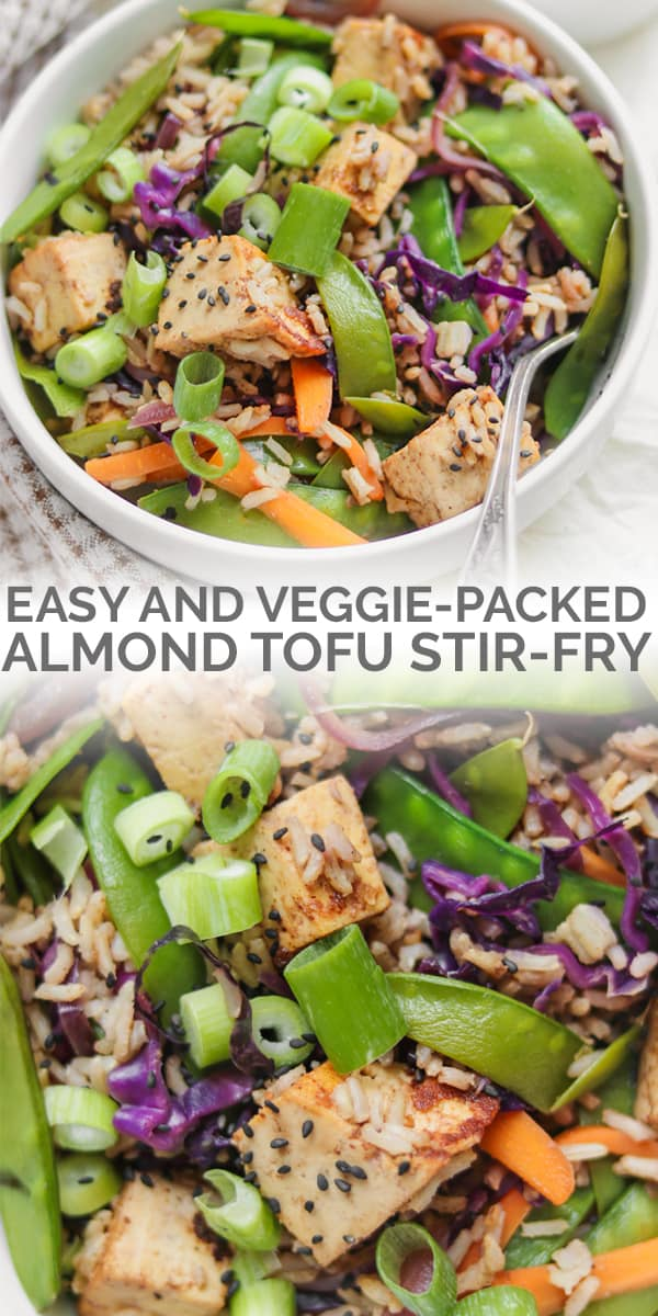 Vegan almond tofu rice stir-fry with vegetables
