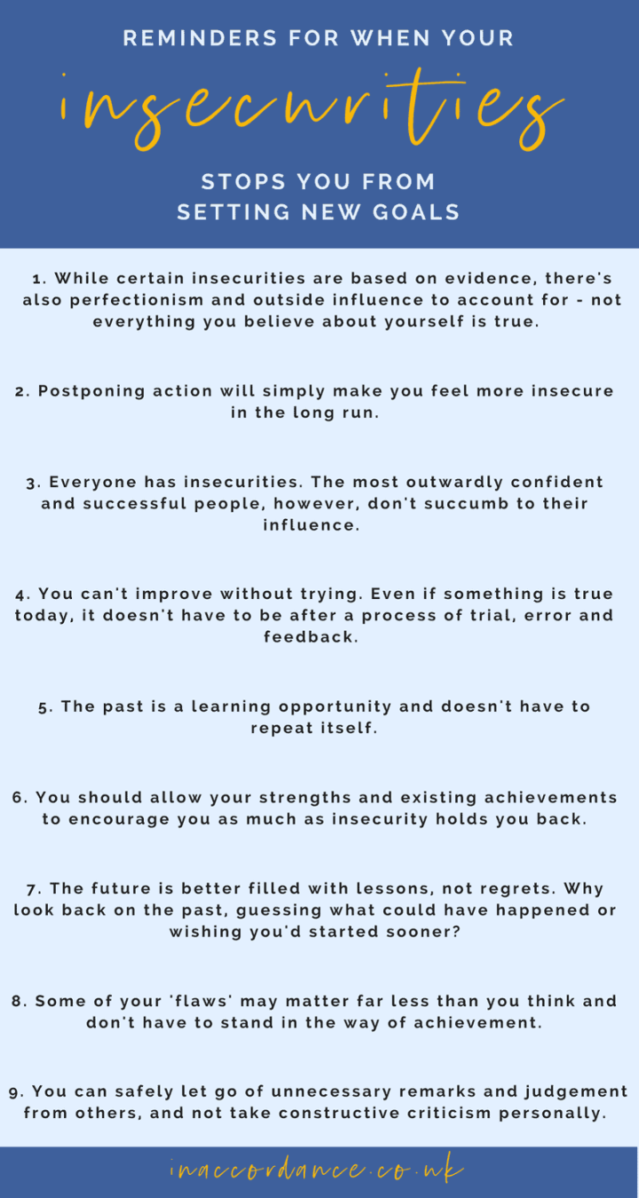 Reminders from when insecurities stop you from setting new goals and living your best life - read more at IN ACCORDANCE #selfimprovement #personalgrowth #goalsetting