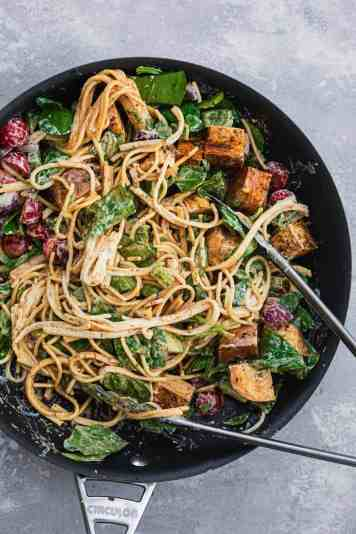 Cold pasta salad in a frying pan