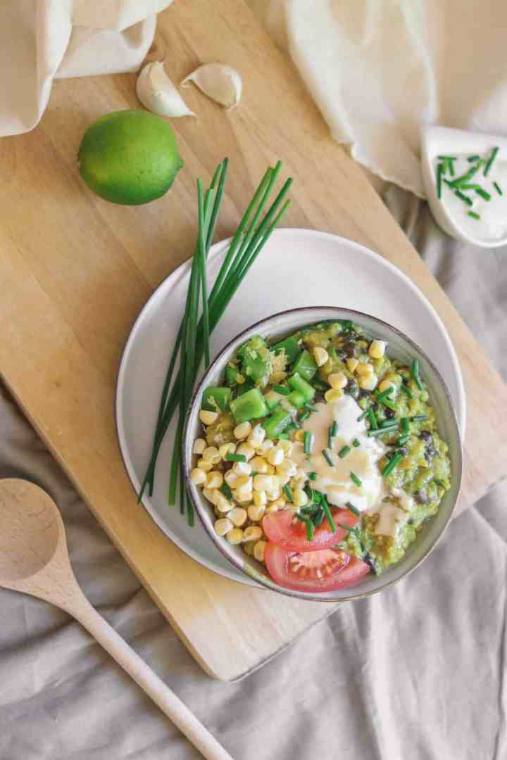 Vegan Savoury Oatmeal Recipe With Zucchini And Black Beans