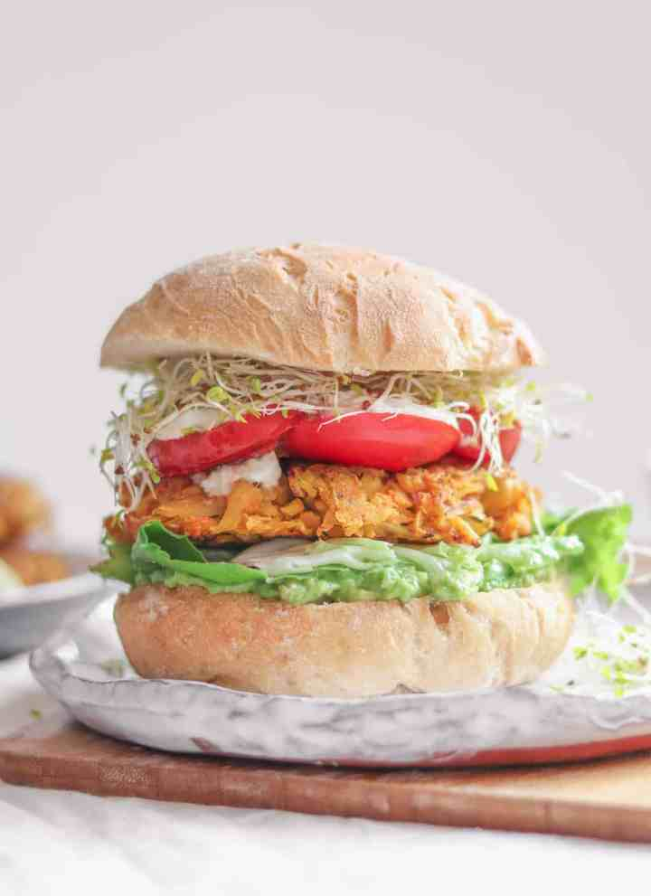 Vegetable Chickpea Fritter Sandwich