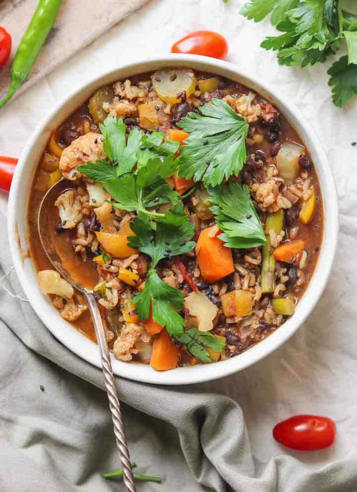 Easy Vegetable Rice Soup With Black Beans