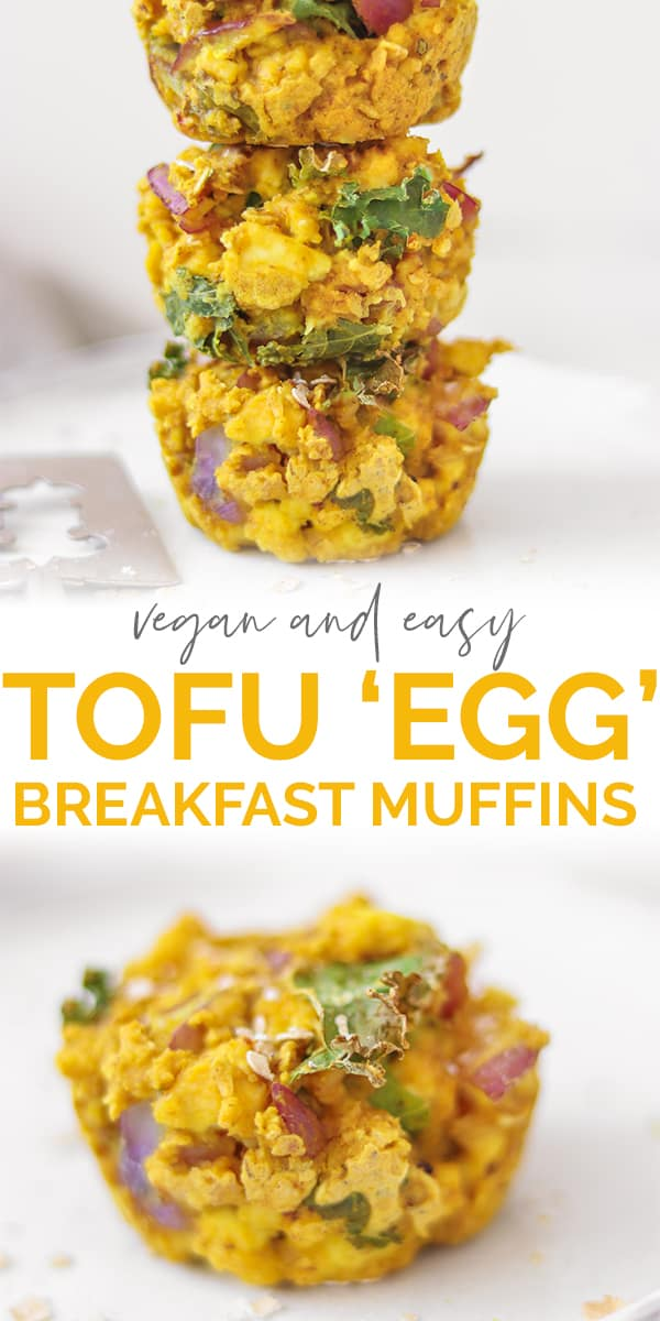 Vegan and easy tofu egg breakfast muffins Pinterest image