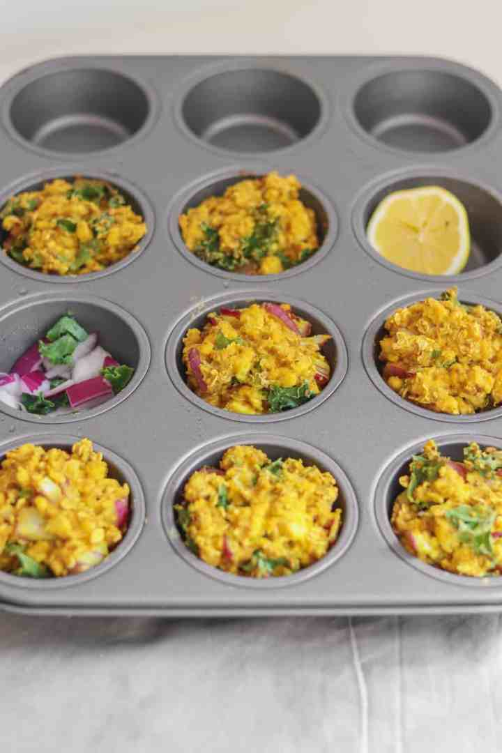 Vegan egg muffins with tofu that are an easy make-ahead breakfast