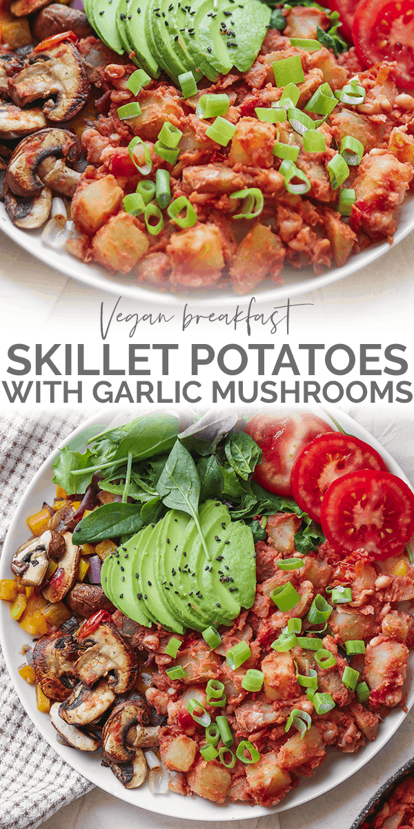 Vegan breakfast skillet potatoes with garlic mushrooms Pinterest image