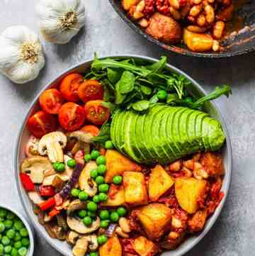 White bean vegan skillet potatoes with garlic mushrooms