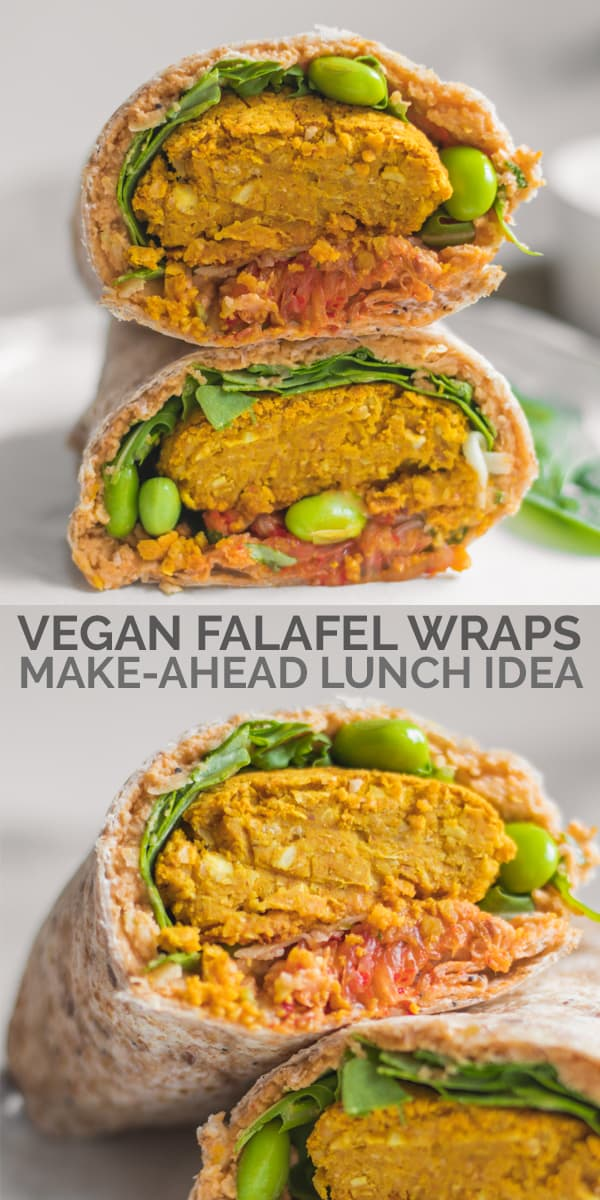 Vegan falafel wraps made ahead lunch idea Pinterest