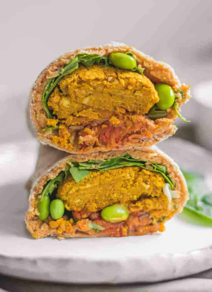 Edamame and kimchi vegan falafel wrap for back to school