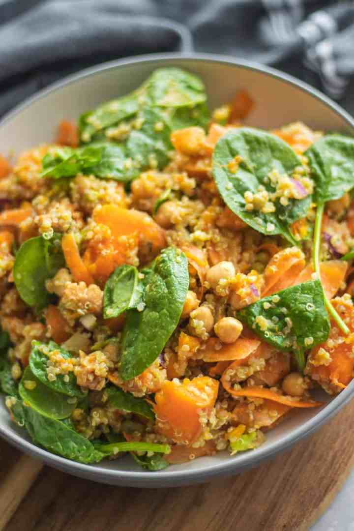 Autumn pumpkin salad with chickpeas and quinoa