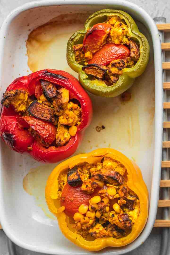 Vegan mushroom and tofu stuffed peppers