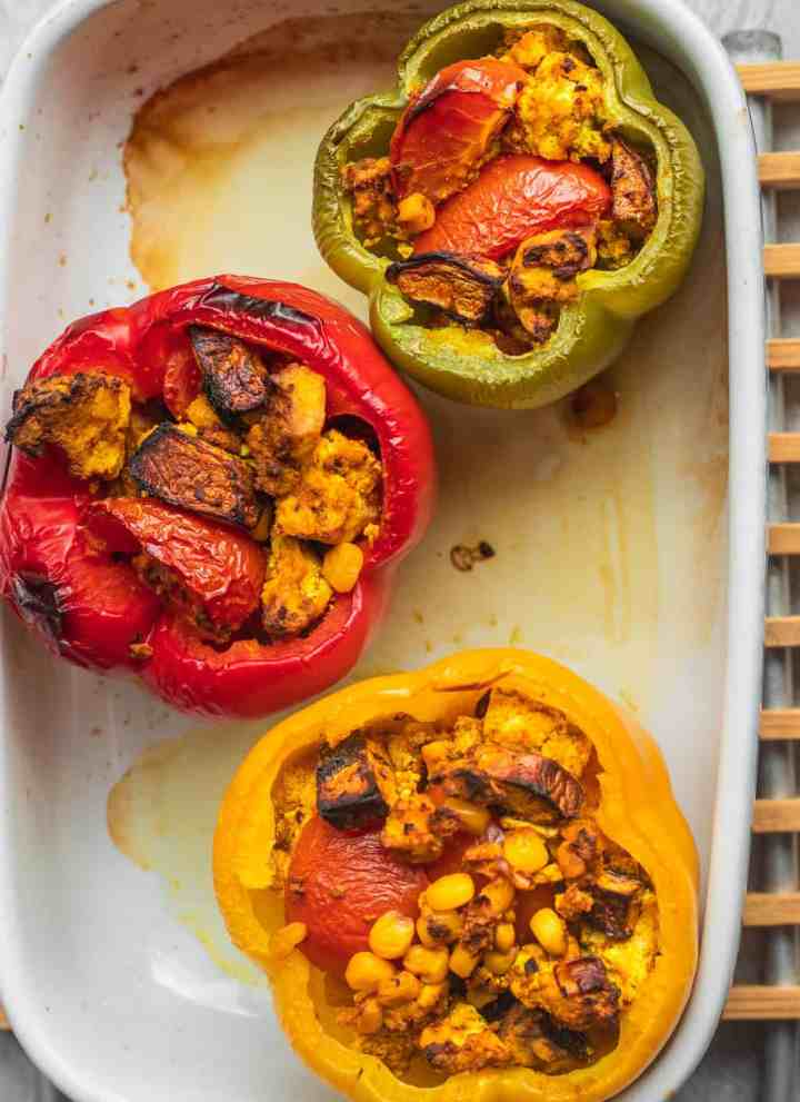 Vegan mushroom and tofu stuffed peppers