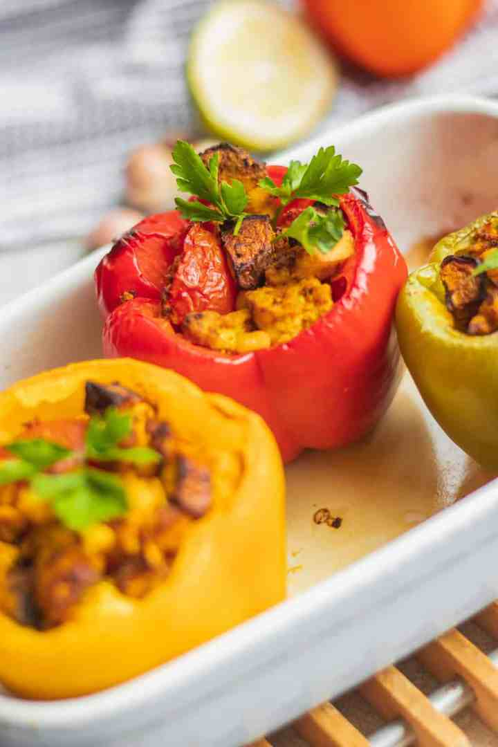 Stuffed peppers with tofu and mushrooms