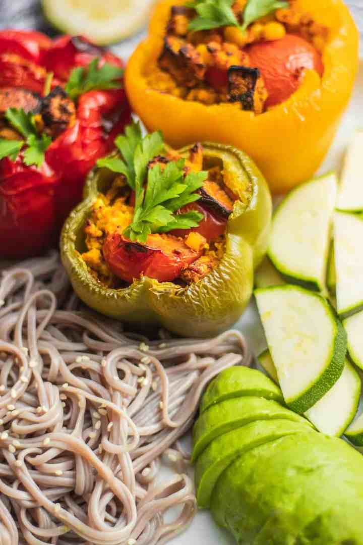 Stuffed peppers with mushrooms and tofu