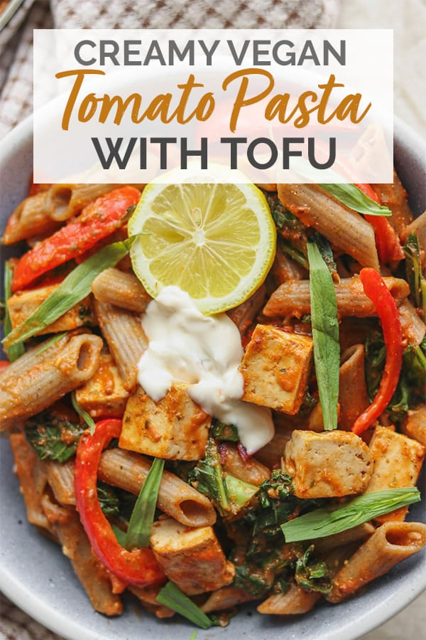Creamy vegan tomato pasta with tofu Pinterest