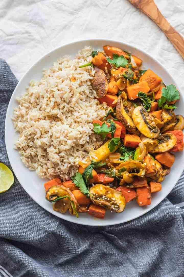 Easy vegan vegetable pumpkin stir-fry