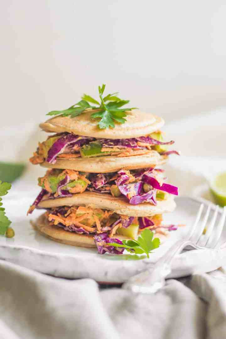 Vegan Buckwheat Pancakes With Tahini Veggie Slaw
