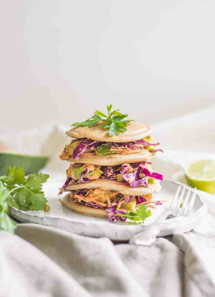 Buckwheat Pancakes With Tahini Veggie Slaw