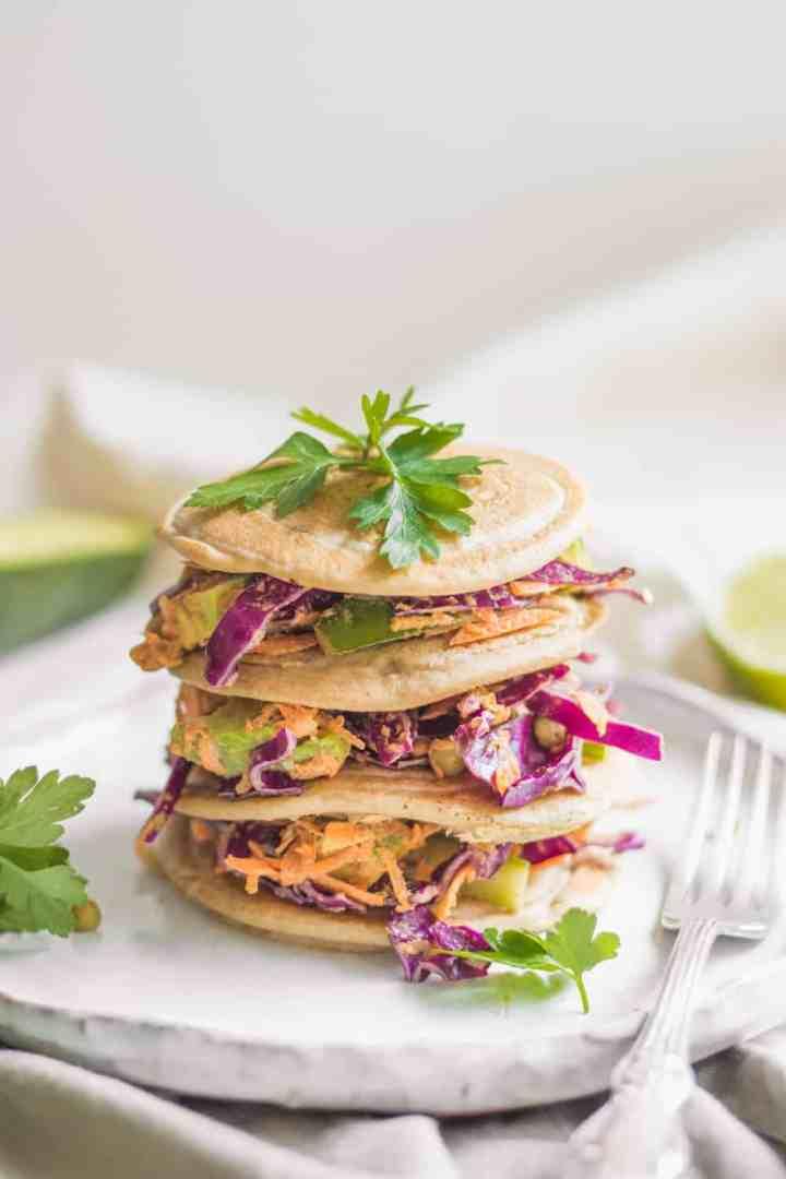 Savoury vegan buckwheat pancakes breakfast
