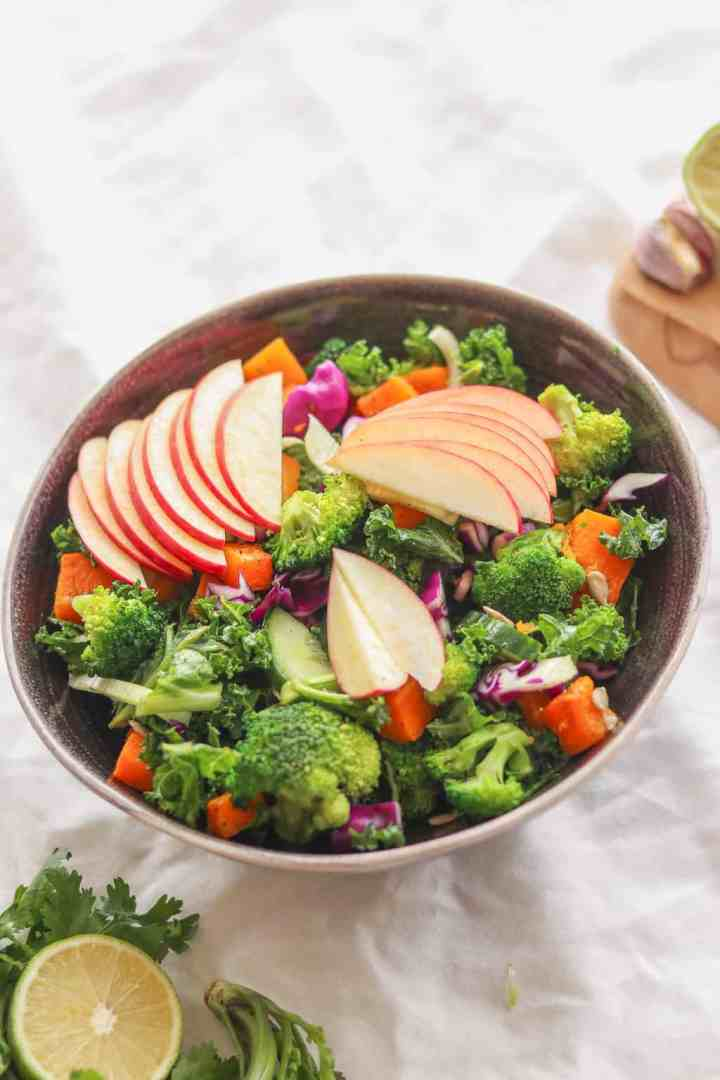 Kale and butternut squash vegan autumn salad