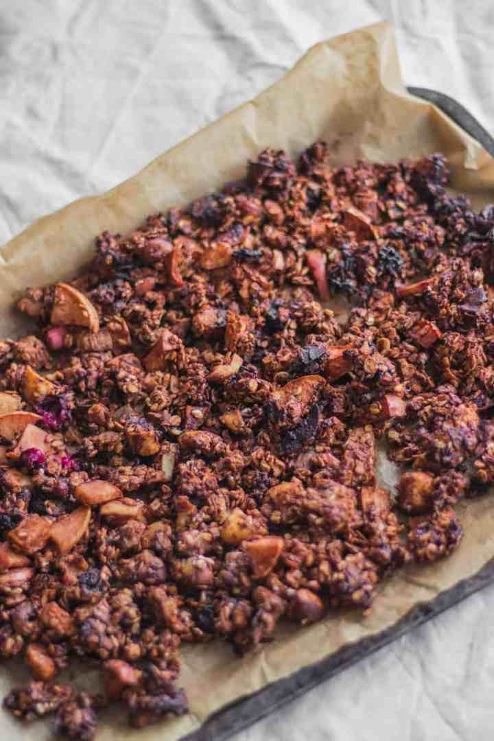 Healthy vegan chocolate granola with tahini and coconut