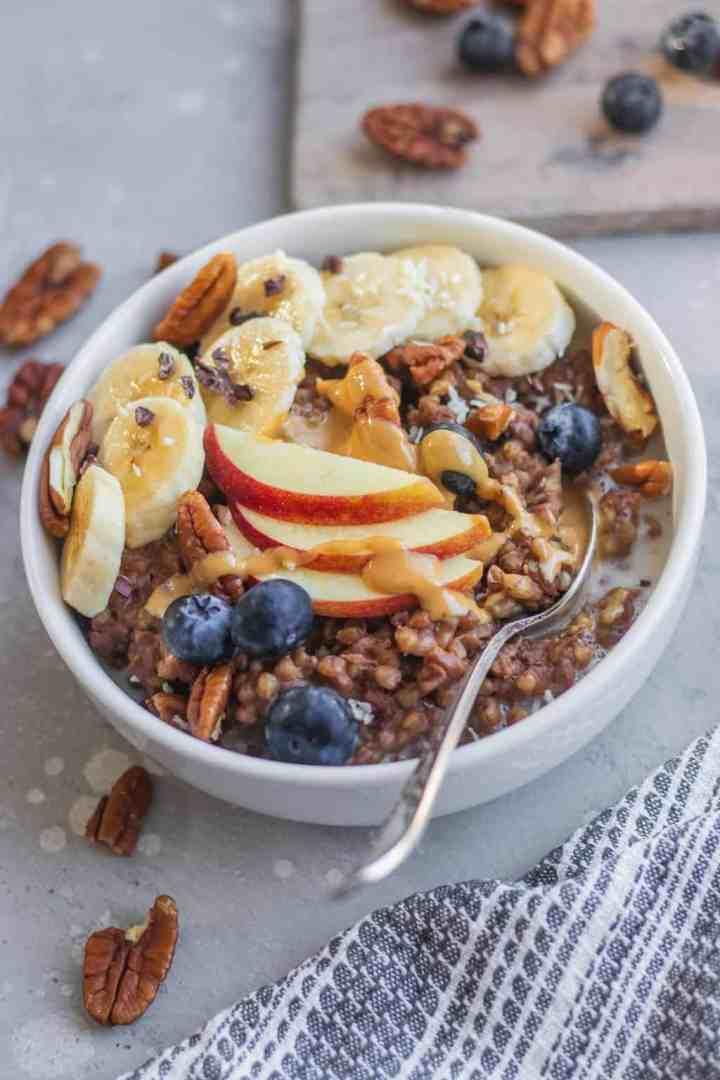 Healthy breakfast buckwheat porridge