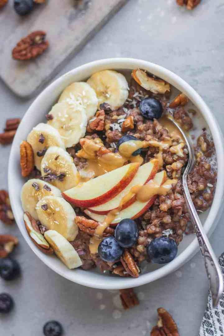 Vegan chocolate buckwheat porridge