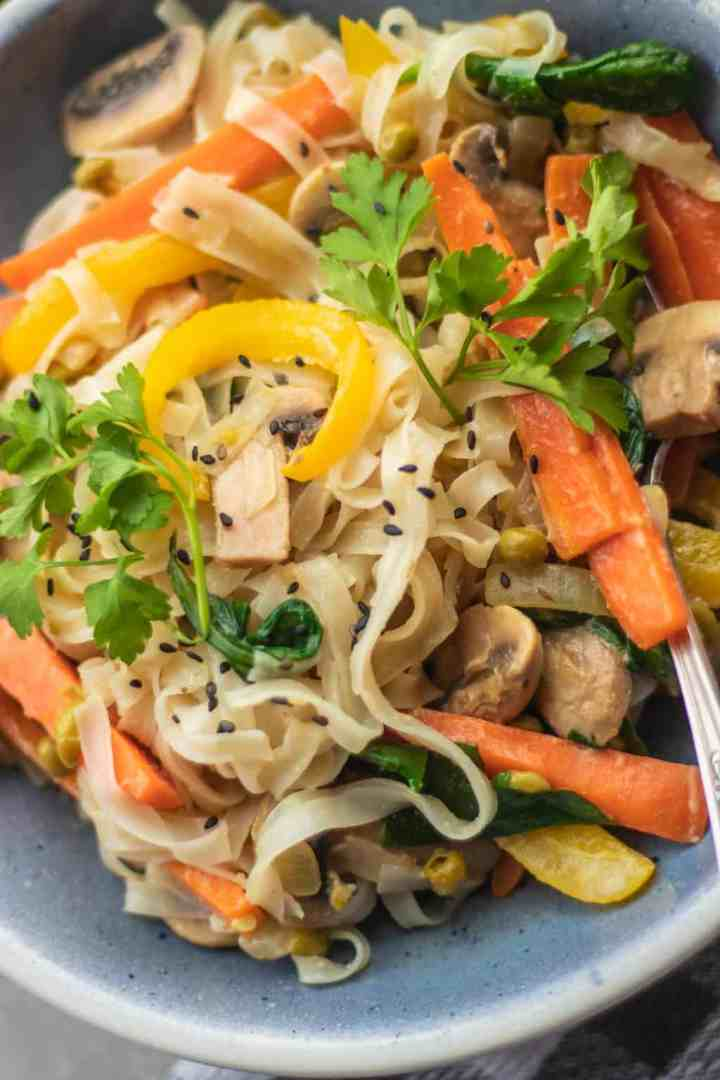 Vegan coconut mushroom stir-fry with vegetables