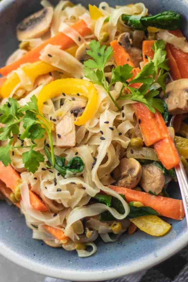 Vegan coconut mushroom stir-fry with vegetables