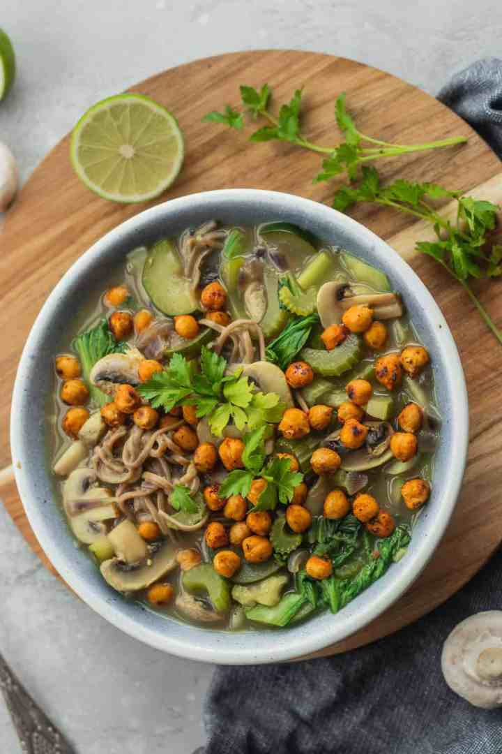 Vegan noodle soup with vegetables and roasted chickpeas