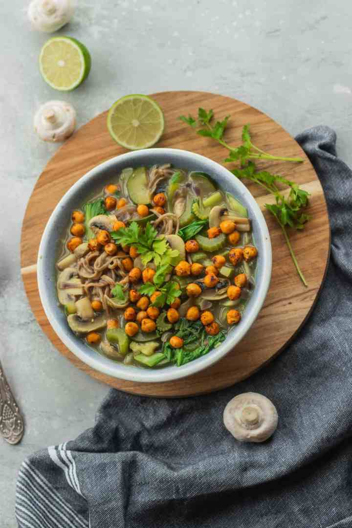 Gluten-free vegan noodle soup with vegetables and roasted chickpeas