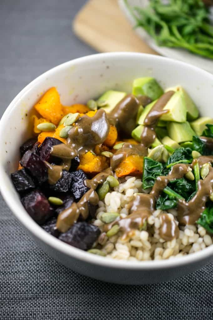 Winter Roasted Vegetable Barley Bowls