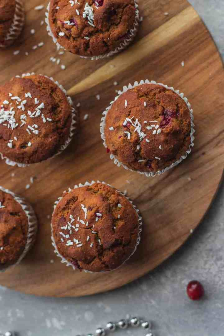 Gluten-free vegan Cranberry Orange Muffins