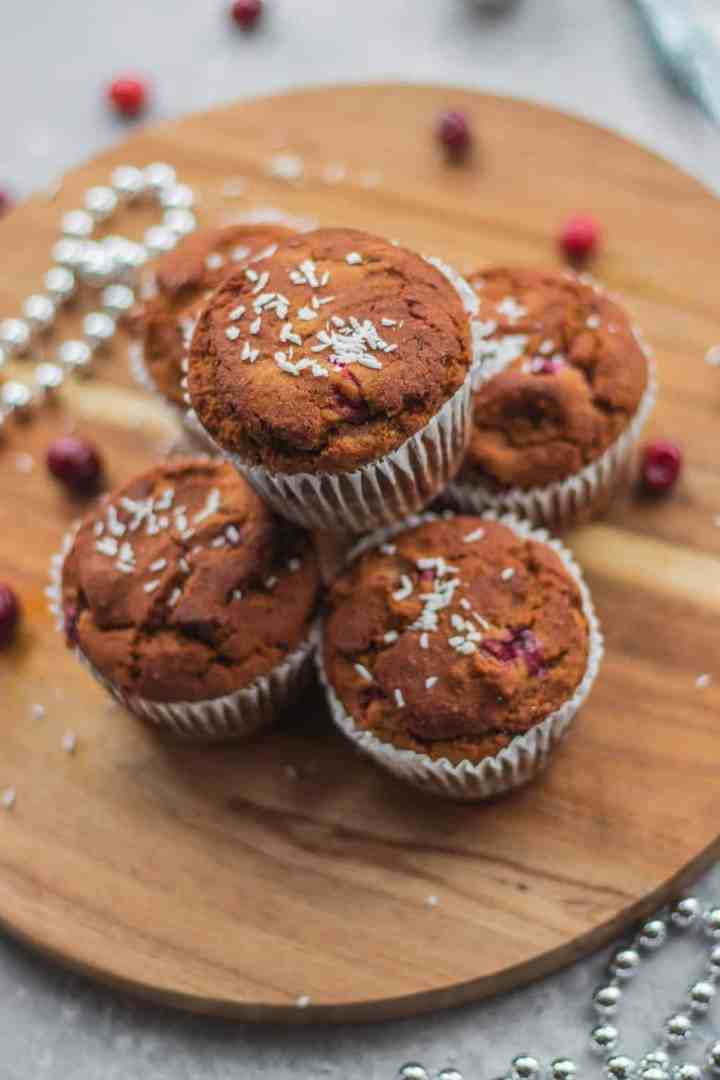 Healthy cranberry orange muffins