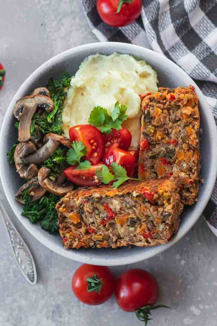 Easy vegan lentil loaf healthy Christmas recipe