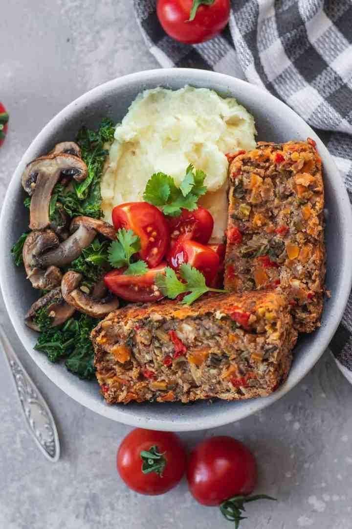 Easy vegan lentil loaf healthy Christmas recipe